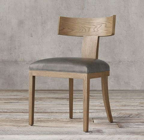 Contemporary Klismos Leather Side Chair