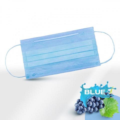 Маски одноразовые медицинские трехслойные с фиксатором голубые, п/э упак, 50 шт/уп