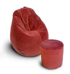 Комплект кресло груша Табако Ред и пуф бочка