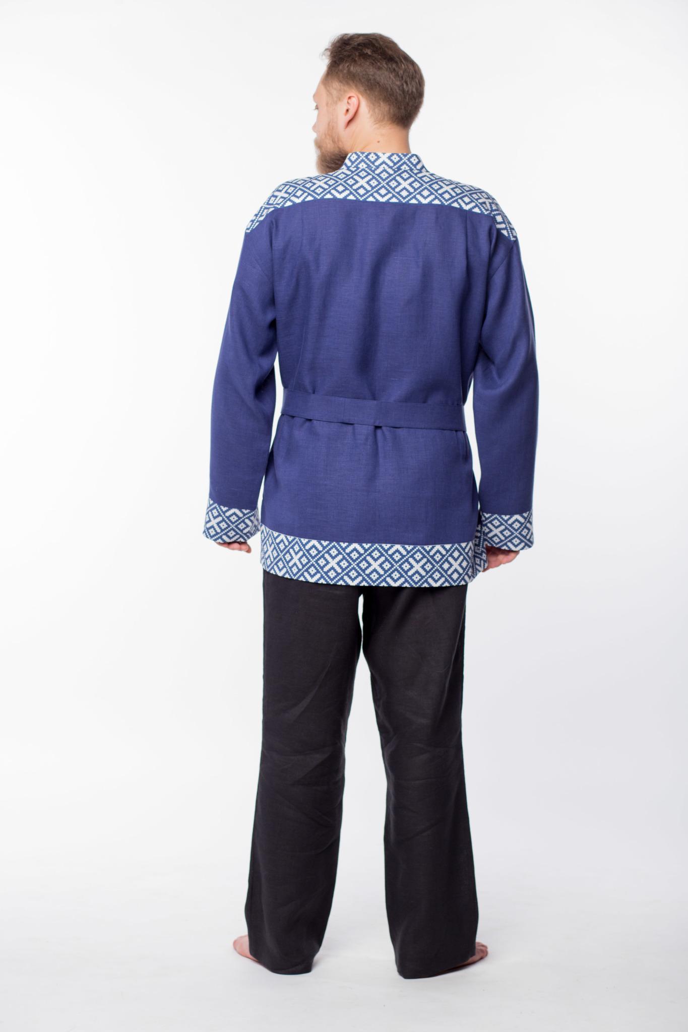 Мужская льняная рубаха Забайкальская вид сзади