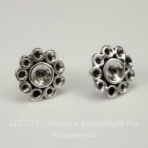 Пуссеты - гвоздики  14,5х11 мм (античное серебро)  (без заглушек)