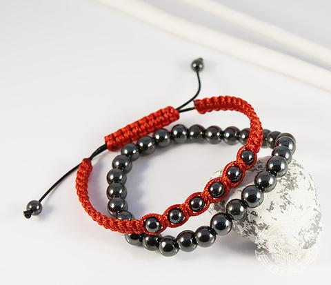 Пара стильных мужских браслетов из натурального гематита. «Boroda Design»