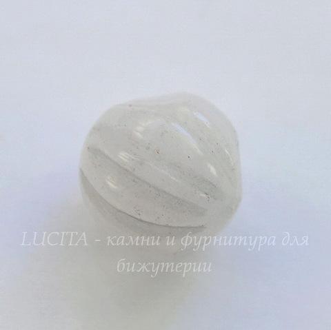Бусина Жадеит, шарик резной, цвет - серо-розовый, 16 мм