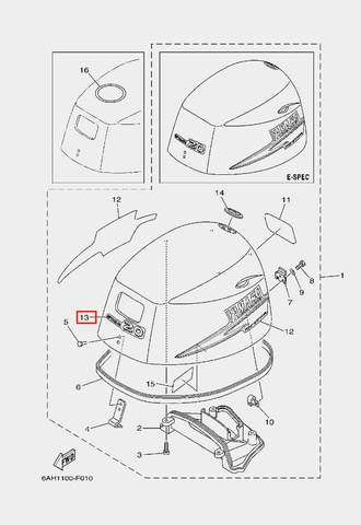 Наклейка для лодочного мотора F20 Sea-PRO (1-13)