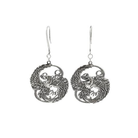 Phoenix earrings, sterling silver