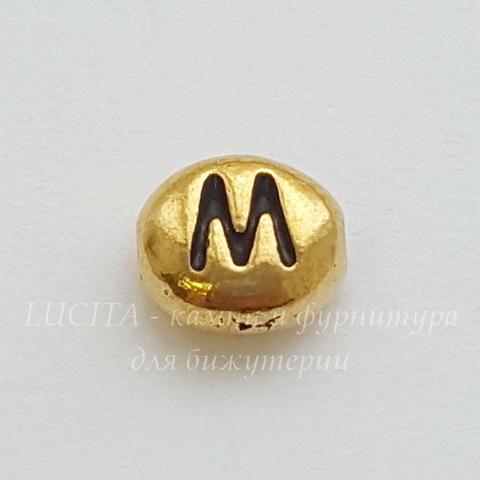 "Бусина овальная TierraCast ""Буква M"" 7х6х3 мм (цвет-античное золото) (20170913_120835)"