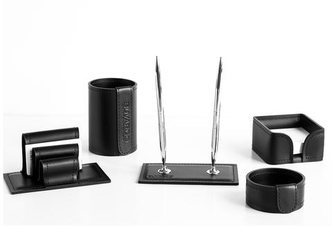 Набор руководителя 5 предметов без бювара из итальянской кожи Cuoietto цвет черный.