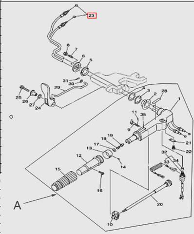 Трос газа  для лодочного мотора T15, OTH 9,9 SEA-PRO (11-23)