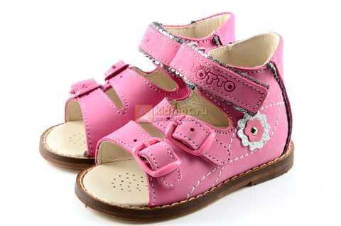 Босоножки Тотто на первый шаг из натуральной кожи открытые для девочек, цвет розовый. Изображение 6 из 10.