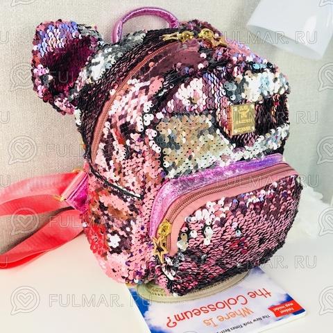 Рюкзак с пайетками и ушами Розовый-Серебристый меняющий цвет