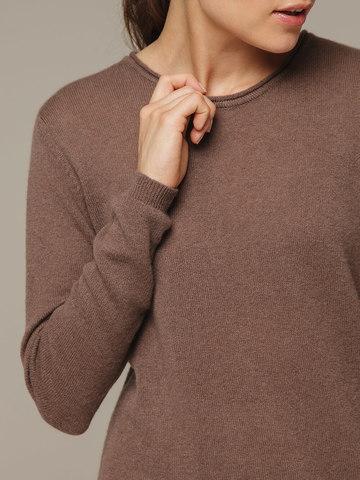 Женский коричневый джемпер из 100% кашемира - фото 2