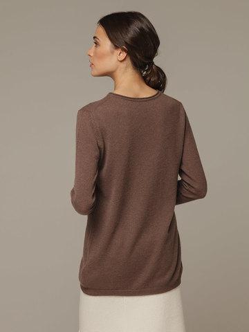 Женский коричневый джемпер из 100% кашемира - фото 3