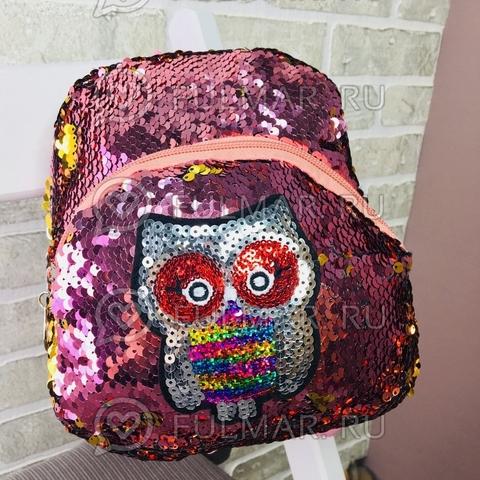 Маленький рюкзак с пайетками меняет цвет Розовы-Золотистый нашивка Сова