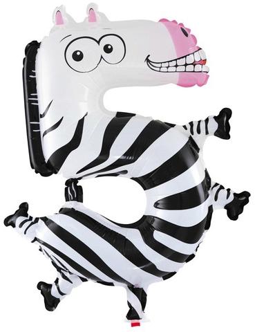 Шар цифра 5 зебра