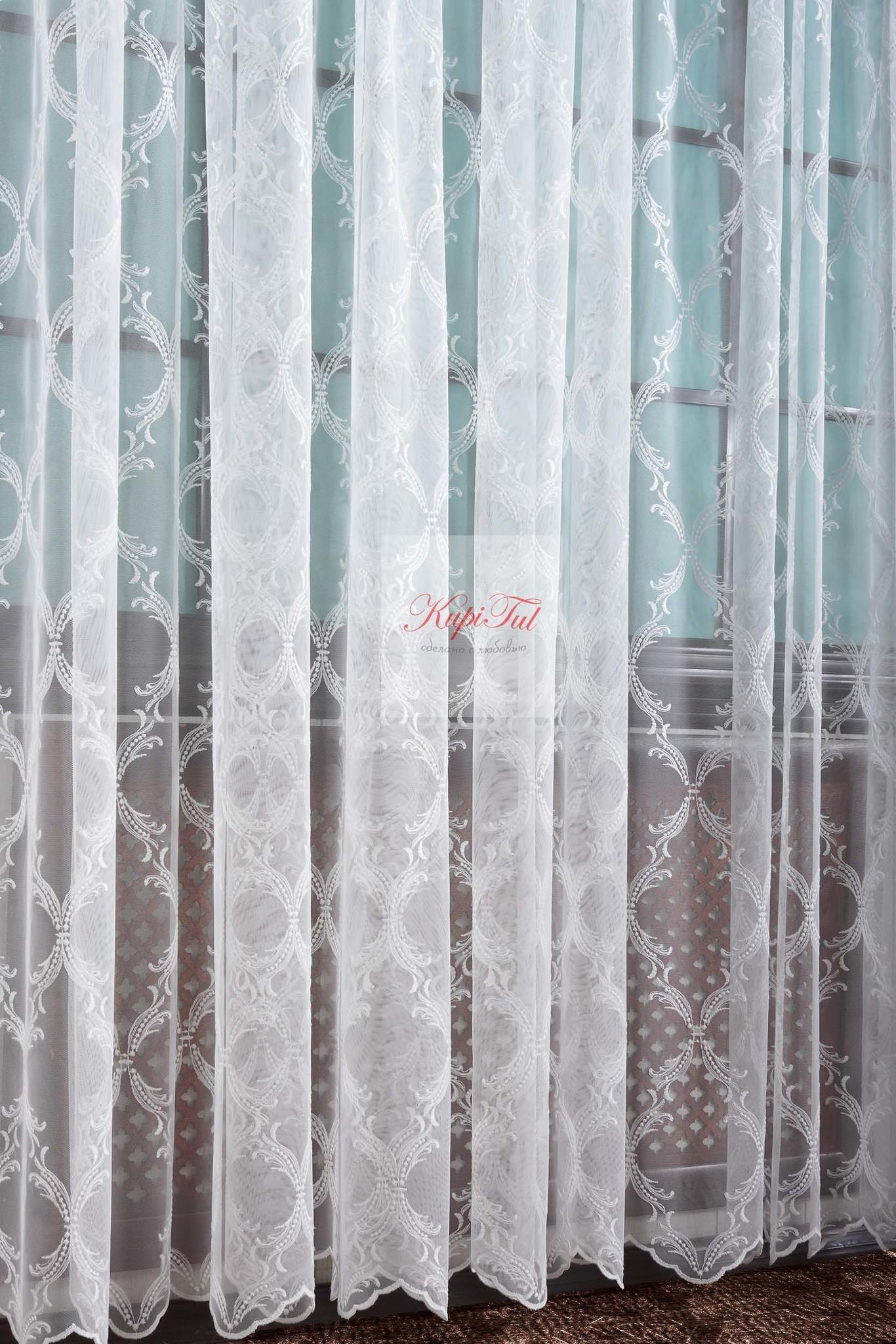 Тюль с вышивкой Милана-2 (молочный)