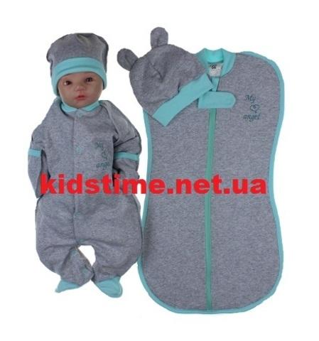 Набор одежды для новорожденного с начесом Ангел мята