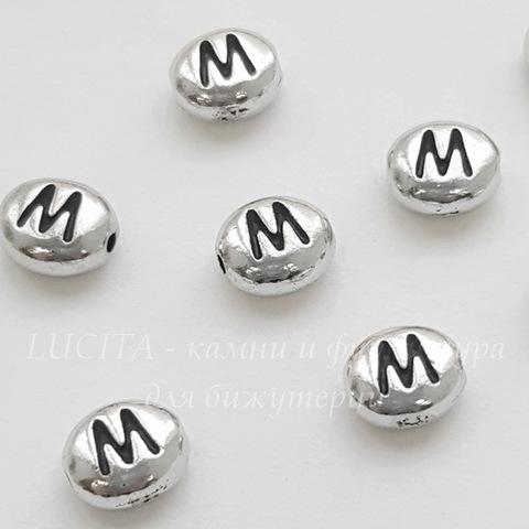 """Бусина овальная TierraCast """"Буква M"""" 7х6х3 мм (цвет-античное серебро) (20170913_121509)"""