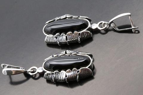 Серьги с черным агатом из серебра 925