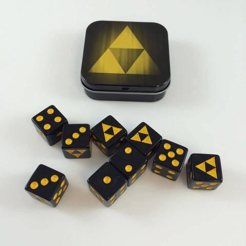 Legion Supplies - Iconic Tri-Force 9 шестигранных кубиков в железной коробочке