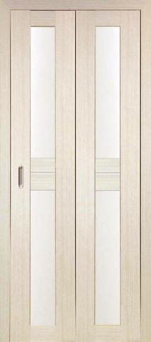 > Экошпон складная Optima Porte Турин 520.222  (2 полотна), стекло матовое, цвет беленый дуб, остекленная