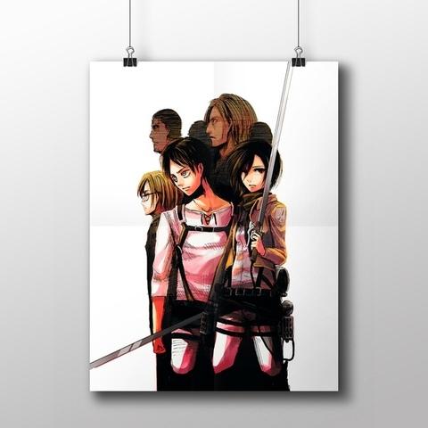 Плакат с Эреном и Микасой