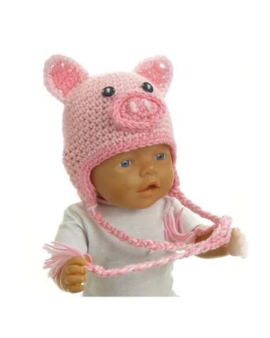 Шапка-зверюшка - Поросенок. Одежда для кукол, пупсов и мягких игрушек.