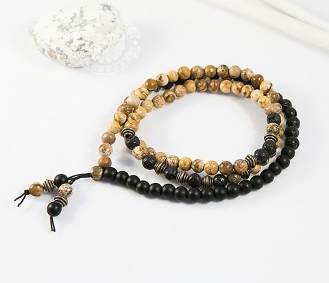 Мужской браслет ручной работы из яшмы, шунгита и лавы, «Boroda Design»