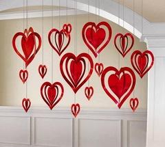 Подвеска Сердца 3D красные 16 шт, 30, 19, 9,5 см.
