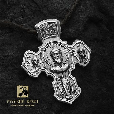 Православный крестик мужской Ангел Хранитель с чернением