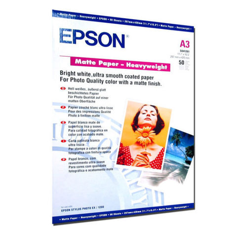 Матовая фотобумага Epson Matte Paper Heawyweight A3 C13S041261
