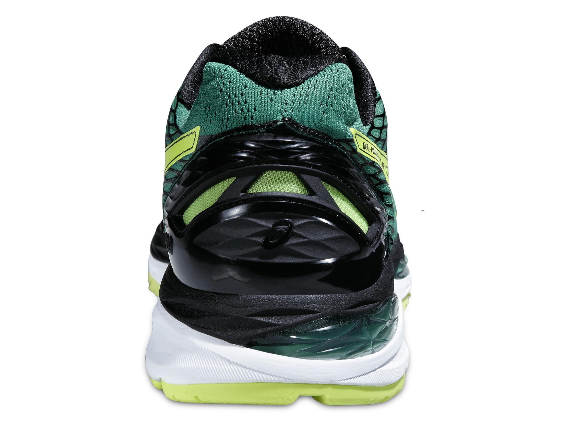 Мужские беговые кроссовки Asics Gel-Nimbus 18 (T600N 8807) зеленые фото пятка