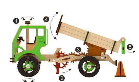 Деревянный конструктор 3D пазл Самосвал (M-WOOD)