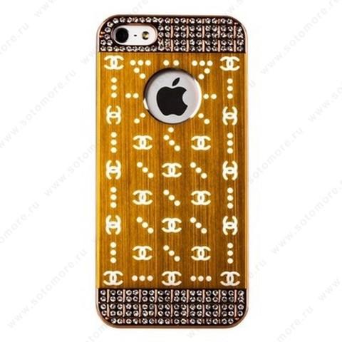 Накладка CHANEL металлическая для iPhone SE/ 5s/ 5C/ 5 золото золотистая