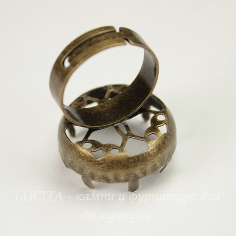 Основа для кольца с сеттингом с зубчатым краем для кабошона/страза 21 мм (цвет - античная бронза)