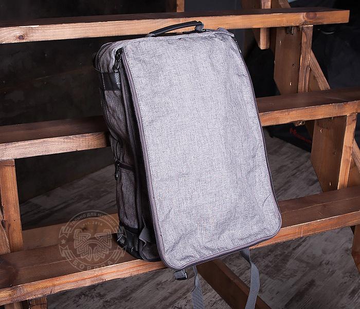 BAG405-2 Вместительный мужской рюкзак трансформер сумка для города из ткани фото 09