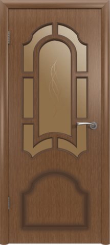 Дверь Владимирская фабрика дверей Кристалл 3ДР3, цвет орех, остекленная