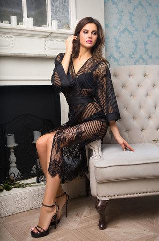 Женский кружевной халат MIA-MIA Lolita Лолита 17467 черный