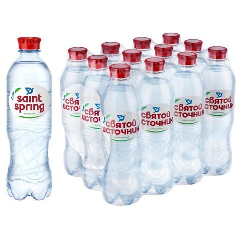 Вода питьевая Святой Источник ПЭТ 0,5л газ.12 шт/уп