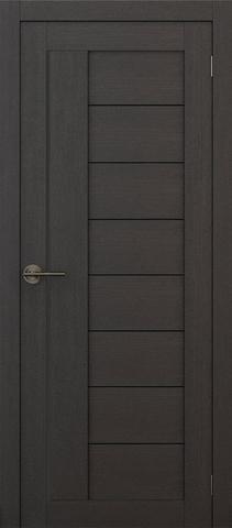 Дверь APOLLO DOORS F1, стекло чёрное Lacobel, цвет каштан тёмный, остекленная