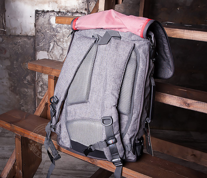 BAG405-2 Вместительный мужской рюкзак трансформер сумка для города из ткани фото 11