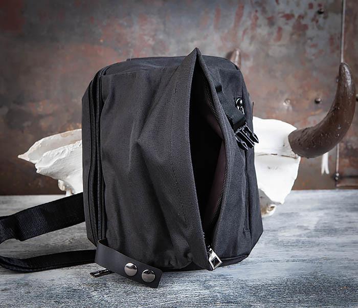 BAG456-1 Сумка черного цвета с одной лямкой через плечо фото 05