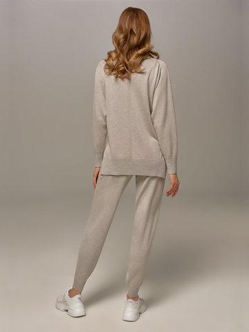Женский джемпер цвета серый меланж из шелка и кашемира - фото 6