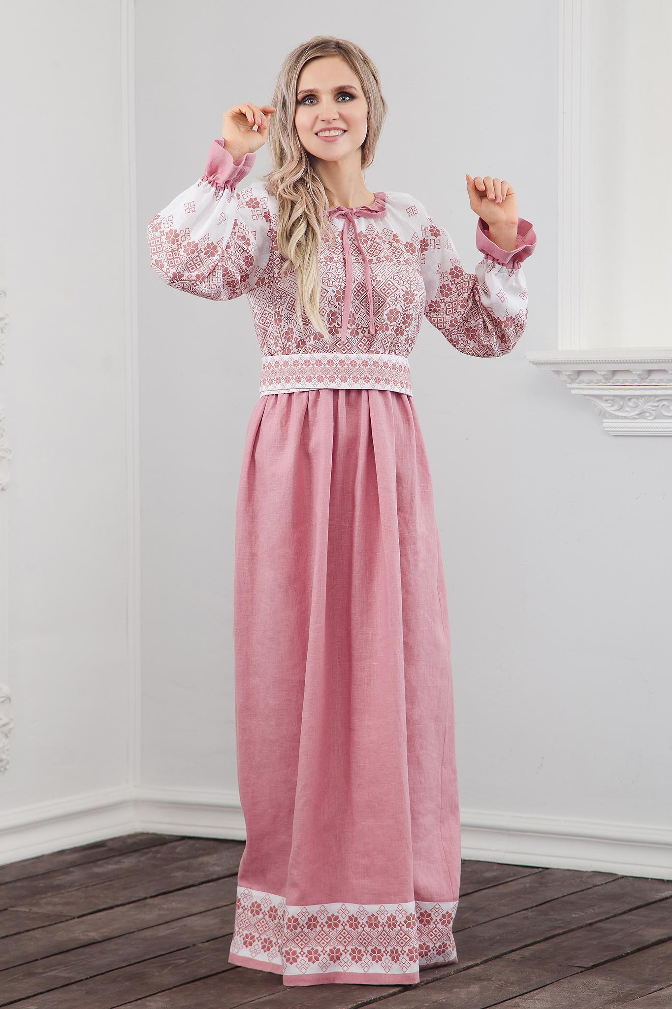 Платье традиционное Дары солнца в розовом полный рост