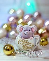 Мышка в чашке трафарет для пряника, мастики, печенья