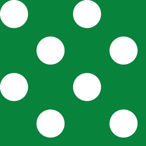 Креп сатин зеленый в белый горох 2,5 см