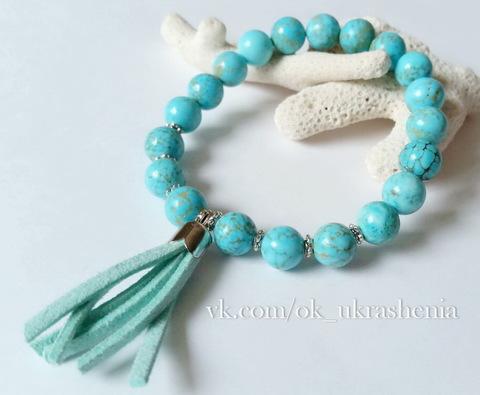 Бусина Бирюза (тониров, прессов), шарик, цвет - бирюзово-голубой, 8 мм, нить (пример. Браслет из натуральных камней)