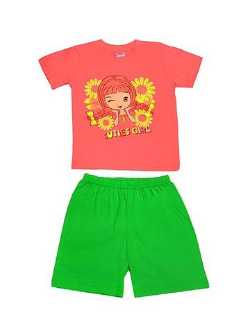 DL11-73-18-39 Комплект детский, оранжевый (футболка+шорты)