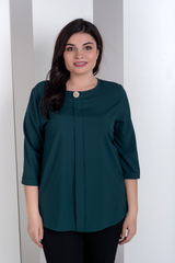 Лиза. Стильная блуза больших размеров. Изумруд