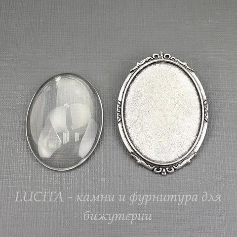 Основа для броши 49х35 мм с сеттингом для кабошона 40х30 мм со стеклянным кабошоном (цвет - античное серебро)