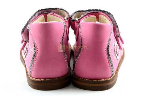 Босоножки Тотто на первый шаг из натуральной кожи открытые для девочек, цвет розовый. Изображение 7 из 10.